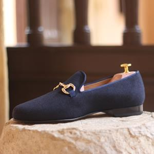 Navy Flannel Wellington Slipper
