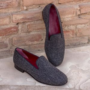 Dark Grey Tweed Wellington Slipper