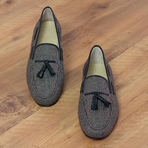 Grey Tweed Wellington Tassel Slipper