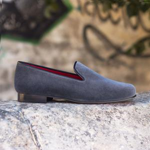 Dark Grey Velvet Wellington Slipper