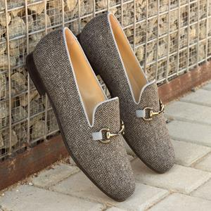 Light Brown Tweed Wellington Slipper