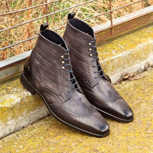 Grey Patina Brogue Boot
