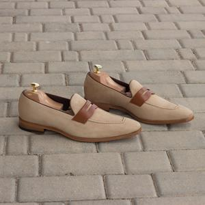 Taupe Suede Two-Tone Loafer