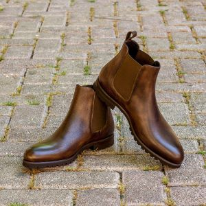 Dark Brown Burnished Chelsea Boot