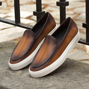 Brown Burnished Belgian Sneaker