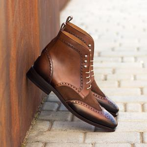 Dark Brown Two-Tone Brogue Boot