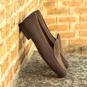 Brown Linen Belgian Slipper