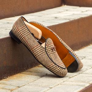 Brown Check Tweed Belgian Slipper
