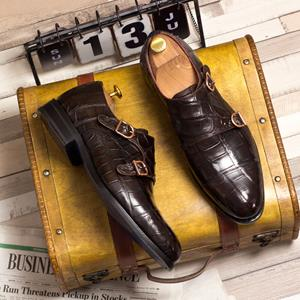 Dark Brown Alligator Double Monk